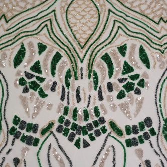 Dantela accesorizata Auriu Verde Gri
