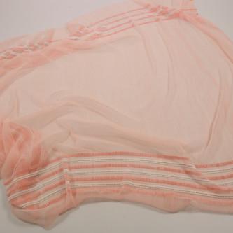 Tul plisat cu bordura dubla Roz somon