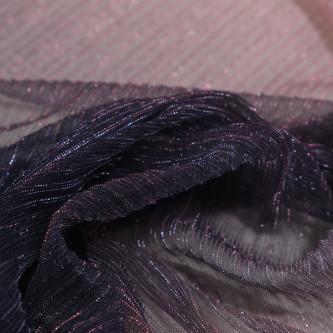 Tul plisat cu fir metalic in degrade Bleumarin Roz