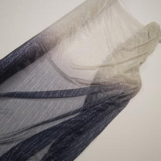 Tul plisat cu fir metalic in degrade Bleumarin Bej