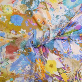Voal de matase naturala imprimat cu motive florale in culorii vii