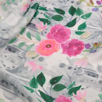 Dublu voal imprimat cu motive florale multicolorate